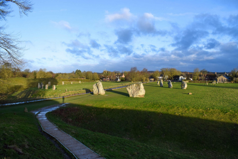 View-of-northern-circle-and-village-from-hill-Avebury