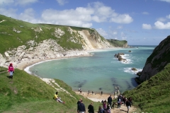 path-down-to-beach-east-of-Durdle-door-limestone-arch-Lulworth-Dorset-England