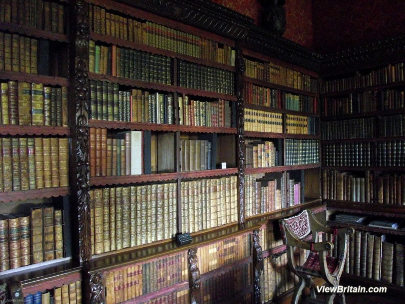 Library-with-very-old-books-Chirk-Castle-Wales