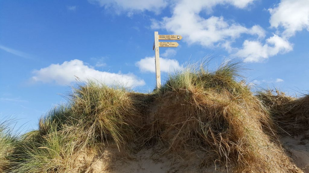 Coastal-walk-signpost-from Holkham-wells-next-the-sea